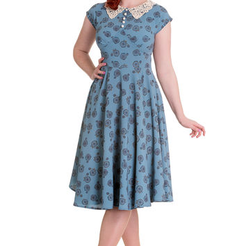 60's Vintage Style Sunday Picnic Blue Vintage Bicycle Penny Lover Tea Party Dress