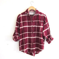 Vintage red Plaid Flannel / Grunge Shirt / button up shirt / thick cotton flannel / women's size M