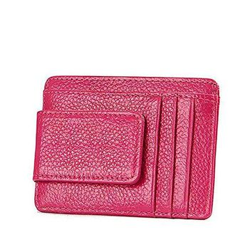 Men & Women's RFID Blocking Slim Front Pocket Wallet Leather Card Holders,Rose