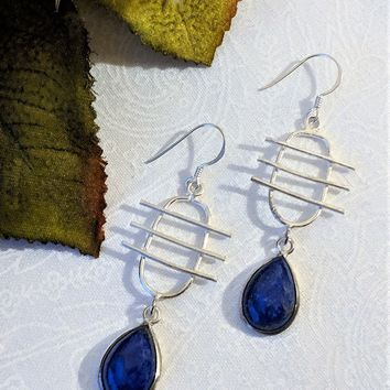 One of a Kind Sterling Silver Lapis Lazuli Musical Symbol Dangle Earrings
