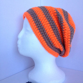 Orange Slouch Beanie, Tangerine and Brown Hat, Mens Stripy Neon Hat, Hand Crocheted, Mens Winter Hat,, Thick Cosy Hat, Tan Stripes