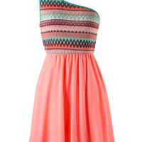 Zig Zag One Shouldered Dress - Coral