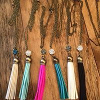Tassel Necklace with Druzy