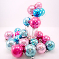 1950s Vintage Glass Pink And Blue Shiny Brite Christmas Holiday Ornaments Two Dozen