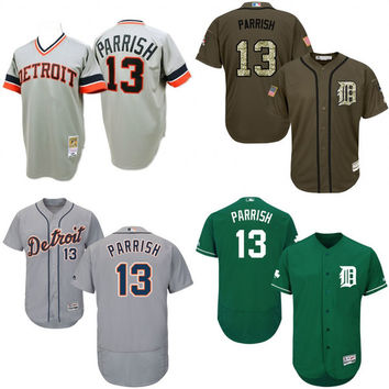 Green white blue Grey Throwback Lance Parrish Authentic Jersey , Men's #13 Mitchell And Ness Detroit Tigers