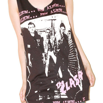 Joe Strummer The Clash Charcoal Black Women Top Woman Shirt Tunic Singlet Tank Top Sleeveless Women Art Punk Rock T-Shirt Size M