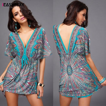 iEASYSEXY 2016 Boho Autumn Women Dress Sexy Loose Sundresses Deep V Ethnic Dashiki Print Tunic Beach Dresses Woman SunDress Robe