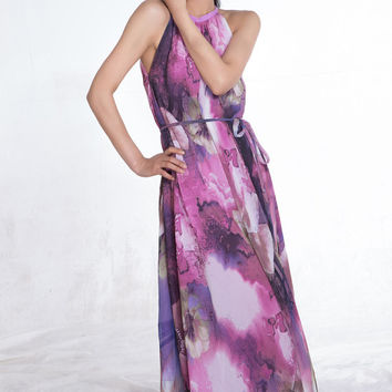 Purple Floral Chic Maternity Clothes, Maternity Dress, Long Summer Maxi dress