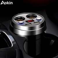 Aokin Cup Car Charger 12V 3.0 A Quick Charger Voltage LED Display 2 Car Cigarette Lighter Dual USB Port Car Charger Cup Holder