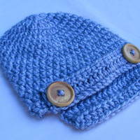 Crochet Newsboy Cap 0-3 Month Gray with Wooden Buttons and Detachable Strap Perfect Newborn Boy or Girl Photo Prop Pick your Color and Size