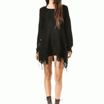 Unif – Come Down Shredded Sweater Dress In Black | Thirteen Vintage