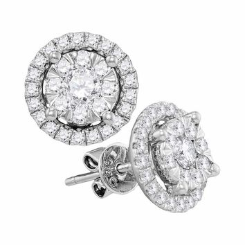 14kt White Gold Women's Round Diamond Concentric Circle Frame Cluster Earrings 1.00 Cttw - FREE Shipping (USA/CAN)