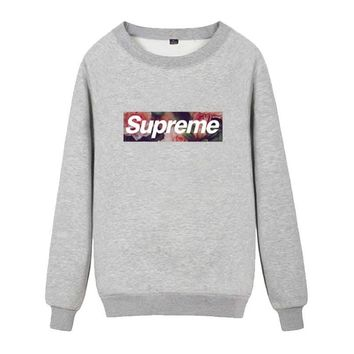 Supreme Round collar female loose couple costume Sweater Rose Grey