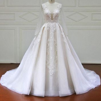 A Line Wedding Dress Long Sleeve Lace Beads Vintage Wedding Dresses Bridal Gown