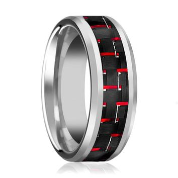 Aydins Mens Tungsten Wedding Band w/ Red Carbon Fiber Inlay Beveled Edges 8mm Tungsten Carbide Ring