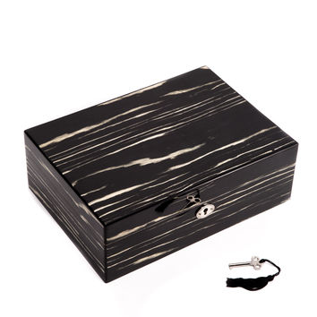 "Secure Lacquered ""Ebony"" Wood Jewelry Box"