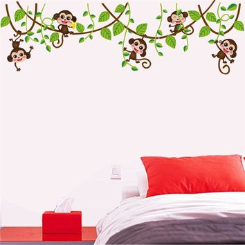 Jungle monkey animals tree wall stickers for kids room home decorations diy baby nursery cartoon wall decals decor
