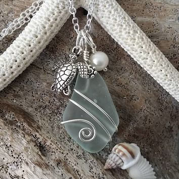 Handmade in Hawaii, Wire wrapped seafoam sea glass necklace,  Fresh water pearl, Sea turtle charm, Sterling silver chain, Gift for her.