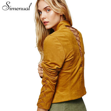 Simenual Lace up suede jacket coat female 2017 fashion new solid hollow out sexy short women's jackets spring women basic coats