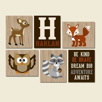 WOODLAND Wall Art, Woodland Nursery Decor, CANVAS or Print, Wood Forest Animal Nursery, Woodland Quote Decor, Woodland Animal Decor Set of 6