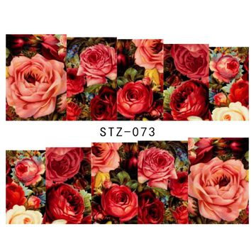 1sheets Hot Designs Fashion Charm Flower Colorful Designs Tips Nail Art Stickers Water Transfer Decals Manicure Tools LASTZ-073