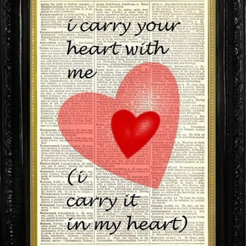E.E. Cummings i carry your heart Romantic Love Quote with Hearts Dictionary Book Page Art Print Recycled Vintage Book Page Upcycled Art