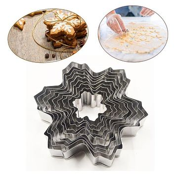 9pocs/set Stainless Steel Snowflake Fondant Cake Molds Cookie Cutter Set Baking Decorating Tools Diy