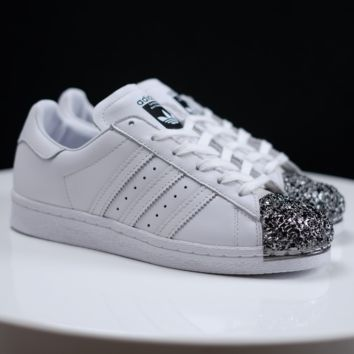 Adidas Trending Casual Shamrock SUPERSTAR metal shell head shining shoes White+Black toe cap Black G