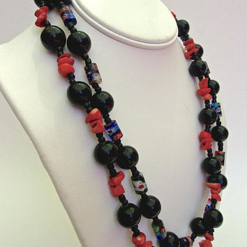 Two 2 Black Onyx & Coral Necklaces, Lampwork Beads, Vintage