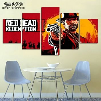 Poster Print Decor Room Wall 5 Panel Red Dead Redemption 2 Western Action Games Adventure Canvas Picture Modular Paintings Frame