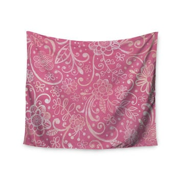 "Heidi Jennings ""Too Much Pink"" Magenta Floral Wall Tapestry"