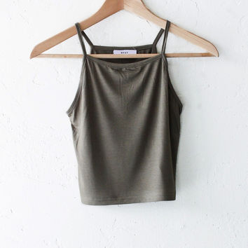 Knit Cami Crop Top - Olive