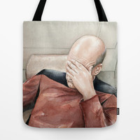 Picard Facepalm Meme Watercolor Tote Bag by Olechka