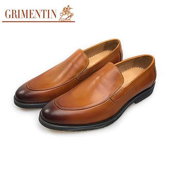 Fashion Men Shoes Genuine Leather Tan Formal Business Shoes Slip On