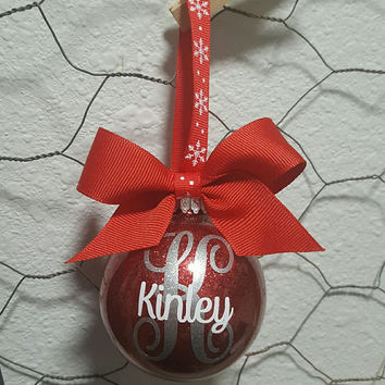 Glitter Ornament with Name and Initial