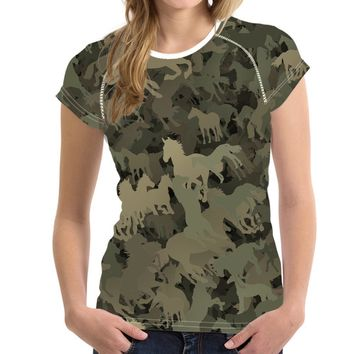 Green Horse Camouflage T-Shirts