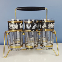 Vintage Mid Century Cocktail Glasses Set of 6 with Caddy Black White and Gold Roman Graphic Barware Metallic Gold Decor Drinking Glasses