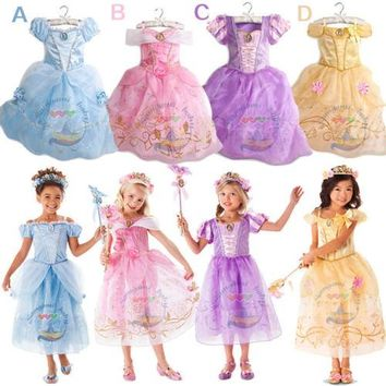 Princess Flower Girl Dress 4 Colors Summer 2017 Wedding Birthday Party For Girls Belle&Cinderella Cosplay Costume Party Dresses