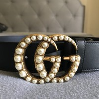 Authentic Gucci Leather Belt With Pearls GG Women's Sz 70