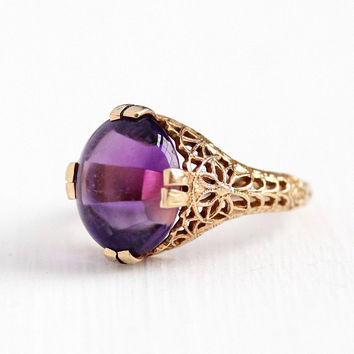 Estate Amethyst Ring - 14k Yellow Gold Filigree Purple Gemstone Fine Jewelry - Art Deco Style Size 6 1/4 Flower Floral Fine Jewelry