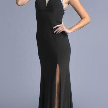 Black Mermaid Prom Gown with Cut-Outs and Slit