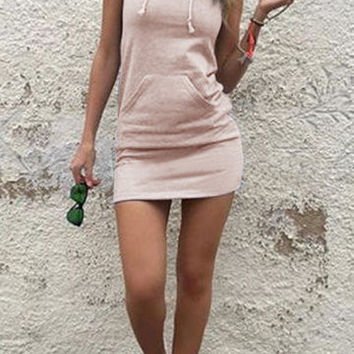 Pink Sleeveless Front Pocket Hoodie Mini Dress