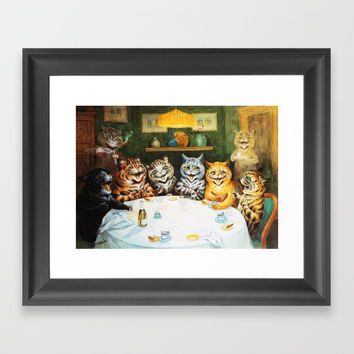 Kitty Happy Hour - Louis Wain's Cats Framed Art Print by digitaleffects