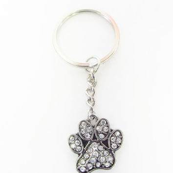 Paw Print Keychain - Pawprint Keychain - Pet Keychain - Silver Paw Charm Keychain - Mother's Day Gifts - Dog / Cat Rhinestone Paw Keychain