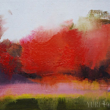 Red Abstract Painting, Small Landscape Painting, Abstract Wall Art Canvas Stretched, Ready to Hang Art