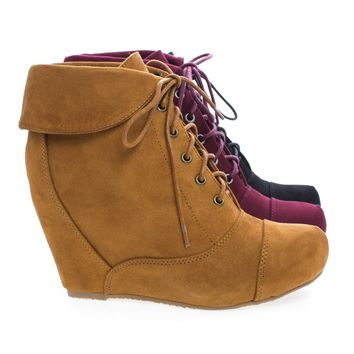Carmela24 Almond Toe Lace Up Folded Cuff Hidden High Wedge Ankle Bootie