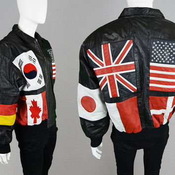Vintage 80s Leather Jacket World Flag Mens Leather Jacket Real Leather USA Jacket Biker Jacket Bomber Jacket Rocker Jacket Canada UK France