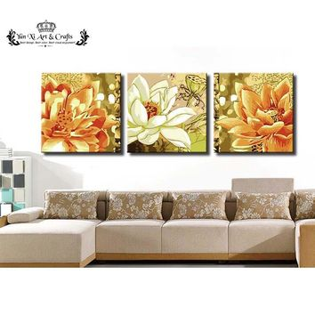 Art Oil Hand-painted picture (No Frame) 3pcs/Set Large modern Abstract Lotus
