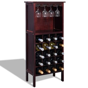 Burgundy Wooden Wine Cabinet Bottle Rack for 20 Bottles