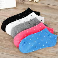 Hot Sale Fashion Dot Point Grain Women Spring Summer Boat Socks Lovely Candy 10 Colors Cool Breathable Casual Sock